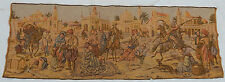 Vintage French Arabian Market Scene Tapestry Wall Hanging 48x136cm T206