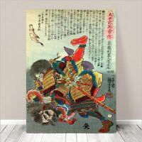 "Traditional Japanese SAMURAI Warrior Art CANVAS PRINT 32x24""~ Fight #014"