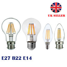 E27 B22 E14 4X/8X LED Retro Filament Flame Candle Globe Light Edison Lamp Bulb
