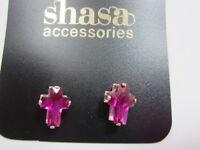 Pink Cross Stud Earrings