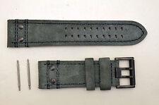 Luminox watch band 1880 Atacama Field Suede Leather 26mm Grey strap 2pin rivets