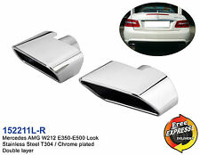 Exhaust Tailpipe tips set Chrome plated for Mercedes W221 AMG E350 E500 look