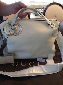 Gucci  Authentic Twill Large Shoulder Bag Color White Large