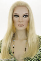 Light Pale Blonde Blonde Long HumanBlend Lace Front Straight Wigs