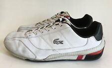 LACOSTE White Leather 'Radium M' Sneakers Casual Tennis Shoes Black Red Sz 10.5
