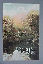 R&L Postcard: Sheffield Bridge in Weston Park, Pond, GW Ridge Attercliffe