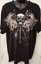 Apt. 9 Men's Black/Brown Skull/Wings/Knife V-Neck T-Shirt Size XL