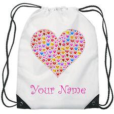 Personalised Heart Emoji Gym Bag PE Dance Sports School Swim Bag Waterproof