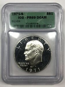 1971-S Silver Proof Ike Eisenhower Dollar ICG PR69 DCAM
