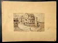 Superbe petit ancien dessin encre, fin XVIIIe 18TH vue d'un village animé Signé