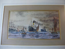 c1910 Orginal MERSEY RIVER PAINTING ~ LIVERPOOL DOCK Watercolour - CUNARD LINE
