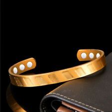 Mens Womens Copper Magnetic Therapy 6 Magnets Open Cuff Bangle Bracelet #BR382