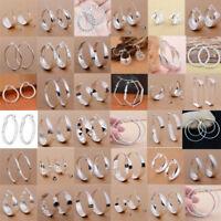 Fashion Women 925 Sterling Silver Hoop Dangle Earrings Wedding Bridal Jewelry