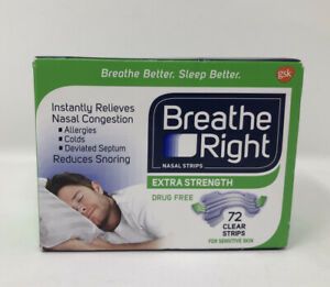 Breathe Right Extra Strength Nasal Strips 72 CLEAR Strips Sensitive Skin Sealed