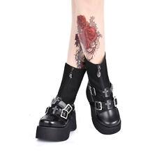 Schwarz Gothic Punk Rock Damen-stiefel Stiefeletten boot High heel cool platform