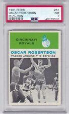 RG: 1961 Fleer Basketball Card #61 Oscar Robertson Rookie In Action - PSA 7