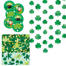 ST PATRICKS DAY GREEN CLOVER BADGE DECORATION PARTY KIT