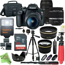 Canon EOS Rebel T7 / 2000D DSLR Camera w/ 18-55mm IS II + 75-300mm Zoom Bundle