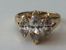 Gorgeous 925 Sterling Silver Gold Vermeil Absolute 3 Stone Marquise Ring Size 5
