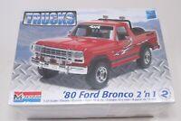 Monogram 80 Ford Bronco 1:24 Trucks Model Kit New Sealed 2in1 2'n1 1980 4x4