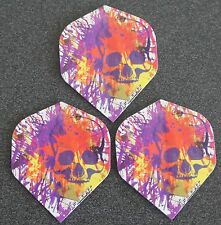 5 Packets of Brand New Ruthless Invincible Darts Flights - Skull Purple & White