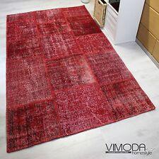 vintage patchwork tapis,original noué à la main Tapis en Laine,Rouge NEUF