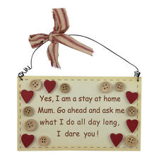 Stay At Home Mum Giggle Plaque - Shabby Chic – Sign – Wooden Hanging – Comical