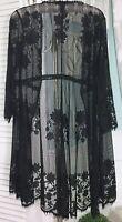 NEW ~ M Medium Black Sheer Lace Boho Jacket Kimono Duster Topper