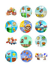 Assorted MARIO Maker Edible CUPCAKE Toppers Icing Image Circles 12