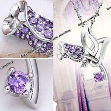 Rose Flower Amethyst Purple Gemstone Necklace Pendant Valentine Christmas Gifts