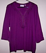 DENIM & CO.Waffle Knit 3/4 Sleeve Top w/Embroidery -Purple / Plum - Sz XL - NWOT
