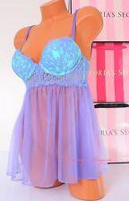 Victoria's Secret VS Lingerie Lace Babydoll Boned Top Push-up 34C Blue 3BKS