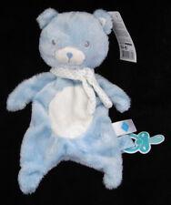 Doudou Peluche Ours bleu blanc à pois Tex Baby Carrefour Nicotoy attache tétine