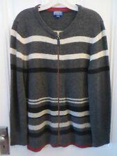 PENDLETON WOMEN's Zip Cardigan Sweater Reg. L 100% Wool Long Sleeve Grey Stripes