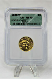 MODERN COMMEMORATIVES 1986 W STATUE OF LIBERTY $5 ICG MS70. 95,248 MINTED. RARE