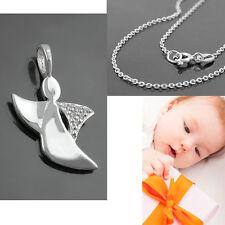 Baby Kinder Taufe Schutzengel Zirkonia Anhänger mit 38 cm Kette Echt Silber 925