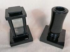 Grablampe Granit Schwedisch Schwarz Grabvase Grablaterne Grableuchte Set