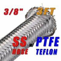 "3/8"" 9.6MM STAINLESS STEEL BRAIDED  PTFE E85 ETHANOL FUEL HOSE PETROL 3FT"