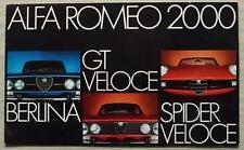 ALFA ROMEO 2000 BERLINA, GT & SPIDER VELOCE Sales Brochure 1973 GERMAN #733G169