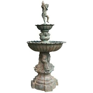BS0004,Niagara Furniture, Bronze Boy with Fish Fountain, Bronze Statue, Fountain