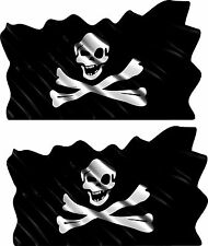 2-Set Pirate Skull Vehicle Flag Trailer Boat Car MOTORCYCLE Truck Sticker Decals