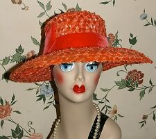 Vtg 50s Orange Woven Straw Velvet Cloche Wide Brim Derby Garden Party Dress Hat