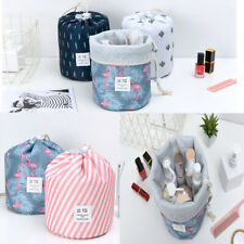 US 1-2 Pcs Large Barrel Travel Cosmetic Bag Nylon Organizer Drawstring Toiletry