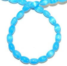 G450f Tuquoise Blue 6mm Tapered Oval Cat's Eye Fiber Optic Glass Beads 16""