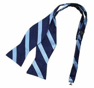 Navy Cornflower Blue Stripes Bow Tie Microfiber Inspire For Groomsmen T2