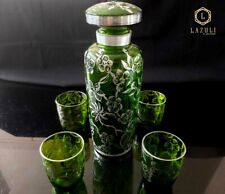 Antique liquor set with silver embroidery, in green glass, 05 pieces.