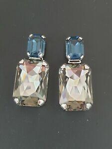 Claasic Statement Earrings Made With Swarovski Montana And Black Diamond Stones.