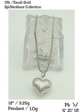 Gold Authentic 18k gold white heart necklace