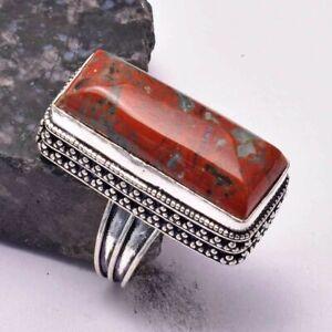 Poppy Jasper Ethnic Handmade Antique Design Ring Jewelry US Size-8 AR 35378