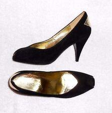 CHARLES JOURDAN escarpins cuir daim noir déco cuir doré clair P 37 ½  (7B) TBE